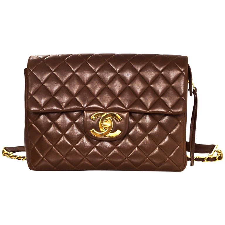 1b258c41f74b Chanel  90s Vintage Brown Lambskin Leather Quilted CC Flap Backpack Bag For  Sale at 1stdibs