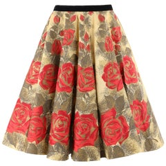 "RATTET & SON ""Retay"" c.1950's Rose on Yellow Floral Print Paper Circle Skirt RAR"