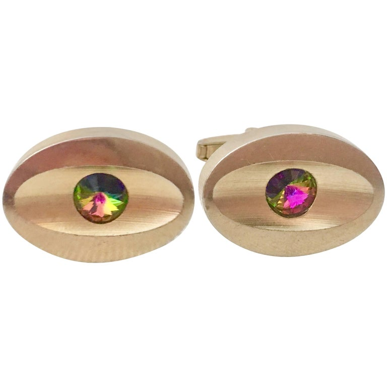 60'S Pair Of Gold & Watermelon Crystal Cuff Links By Sarah Coventry For Sale