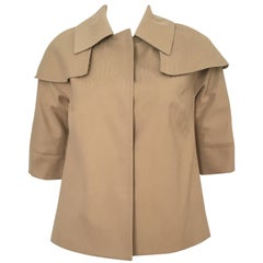 Lela Rose Tan Caped Swing Jacket with Terrier Silk Lining Size 4. Never Worn.