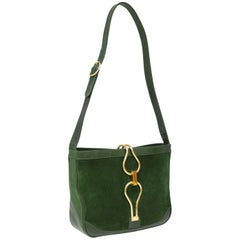 1970s Hunter Green Suede Shoulder Bag with Gold Details