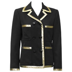 1980's Valentino Black Jacket with Gold Lurex Trim'