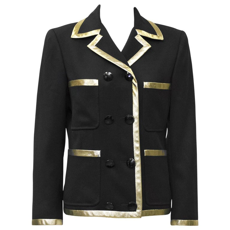 1980's Valentino Black Jacket with Gold Lurex Trim' For Sale