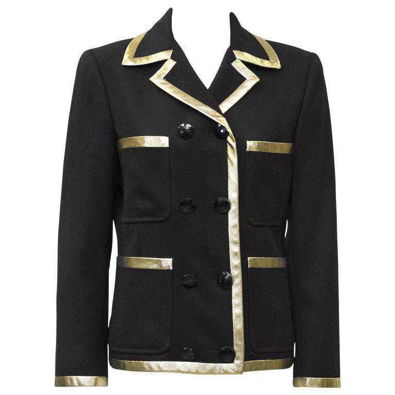 1980's Valentino Black Jacket with Gold Lurex Trim' 1