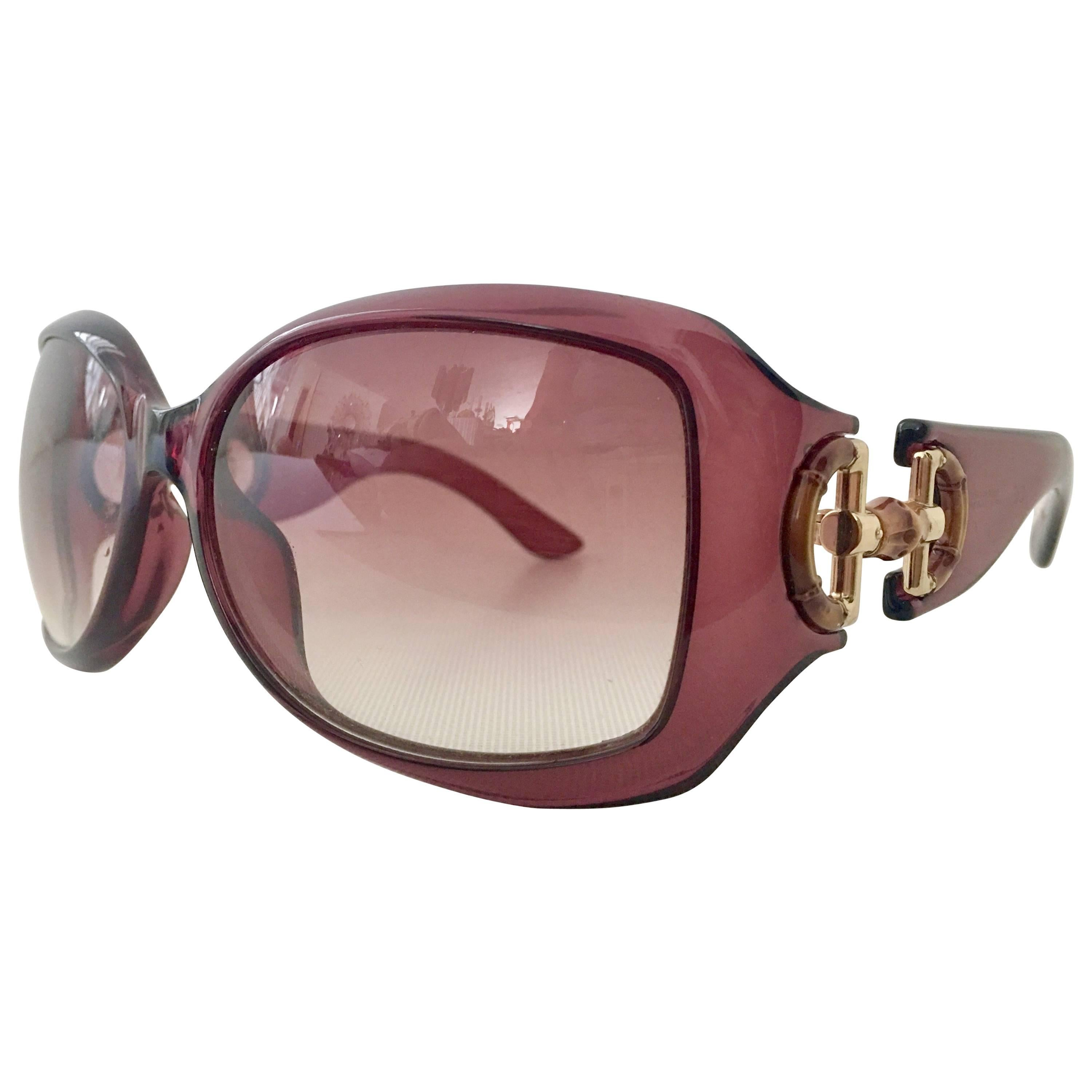3044d0dd26 Gucci Amethyst Bamboo Horse Bit Oversized Sunglasses at 1stdibs