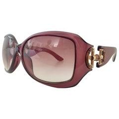 Gucci Amethyst Bamboo Horse Bit Oversized Sunglasses