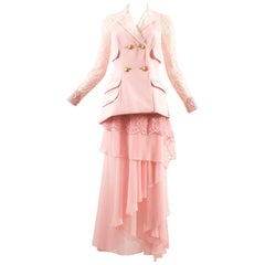 Atelier Versace Autumn-Winter 1993 baby pink embellished 3 piece skirt suit