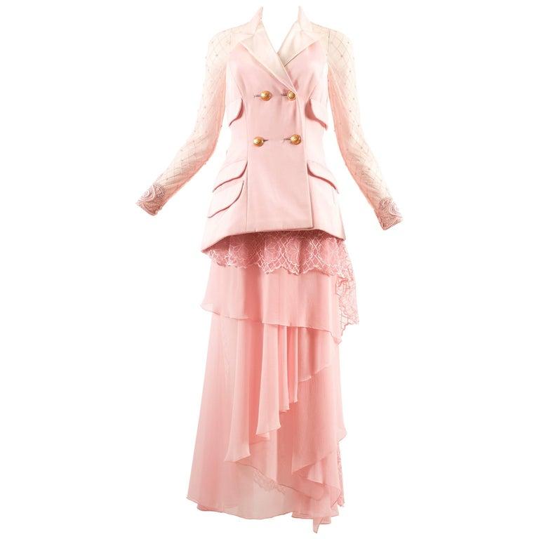 Atelier Versace Autumn-Winter 1993 baby pink embellished 3 piece skirt suit