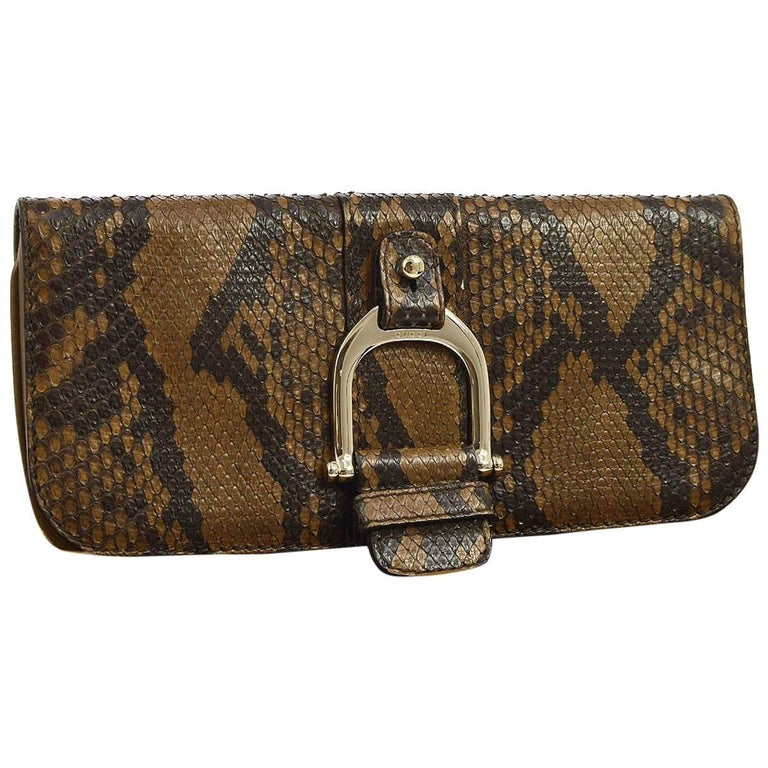 Gucci Cognac Taupe Black Snakeskin Leather Horsebit Evening Clutch Bag