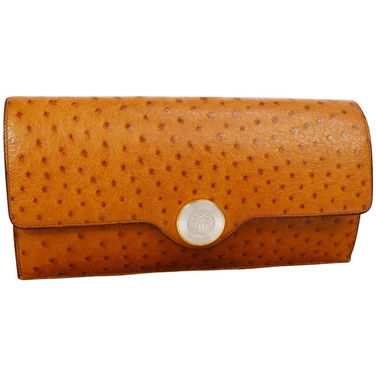 Hermes Vintage Cognac Ostrich Leather Envelope Evening Clutch Flap Bag