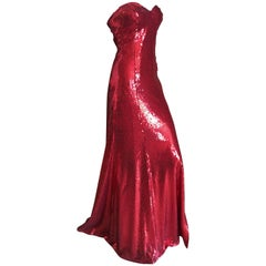Yves Saint Laurent 70's Rive Gauche Amazing Red Sequin Strapless Evening Dress