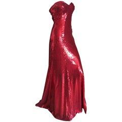 Yves Saint Laurent 70's Rive Gauche Amazing Red Sequin Strapless Evening Dress