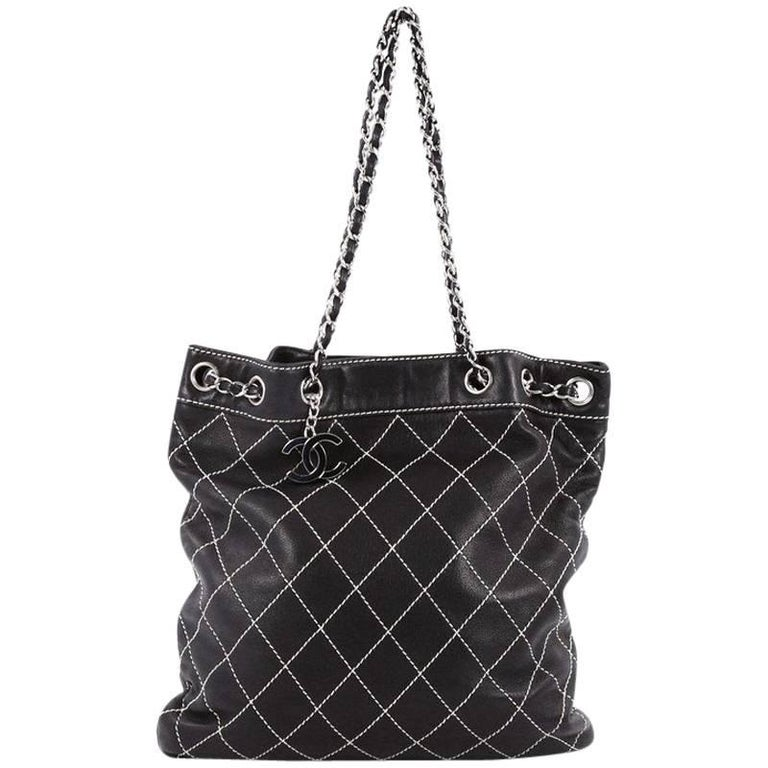 15bef07514be Chanel Surpique Drawstring Bucket Bag Quilted Lambskin Large For Sale