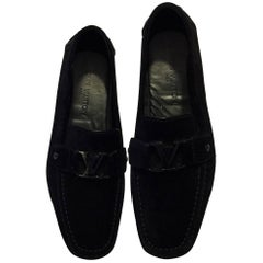 LOUIS VUITTON Men's Black Suede Monte Carlo Slip-On Moccasin Loafers (Intrepide)