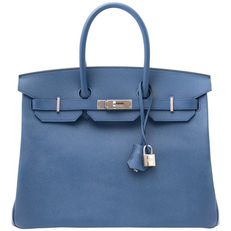Never Used Hermes Birkin 35 Epsom Bleu Agate