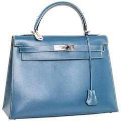 HERMES 'Kelly 2' 32 Bag in Blue Jean Leather