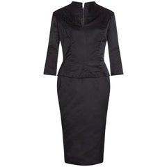 1950s Black Silk Evening Dress With Peplum and Beaded Collar
