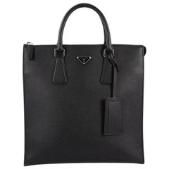 Prada Zip Top Tote Saffiano Leather North South