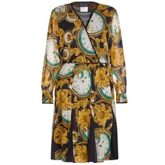 "1980s Diane Freis Silk Chiffon Novelty Print ""Clocks"" Dress"