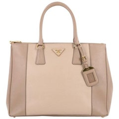 Prada Bicolor Double Zip Lux Tote Saffiano Leather Medium
