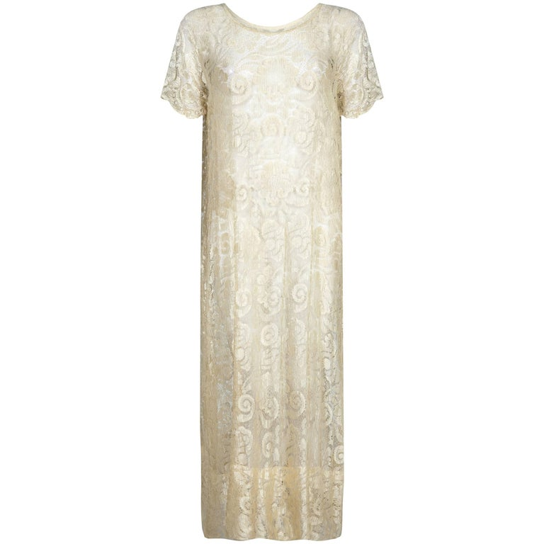 Vintage 1920's Cream Lace Bridal Dress For Sale