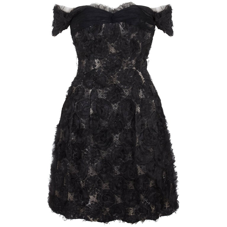 1960s Hardy Amies Couture Silk Organza Dress with Hand Made Net Flower Detail