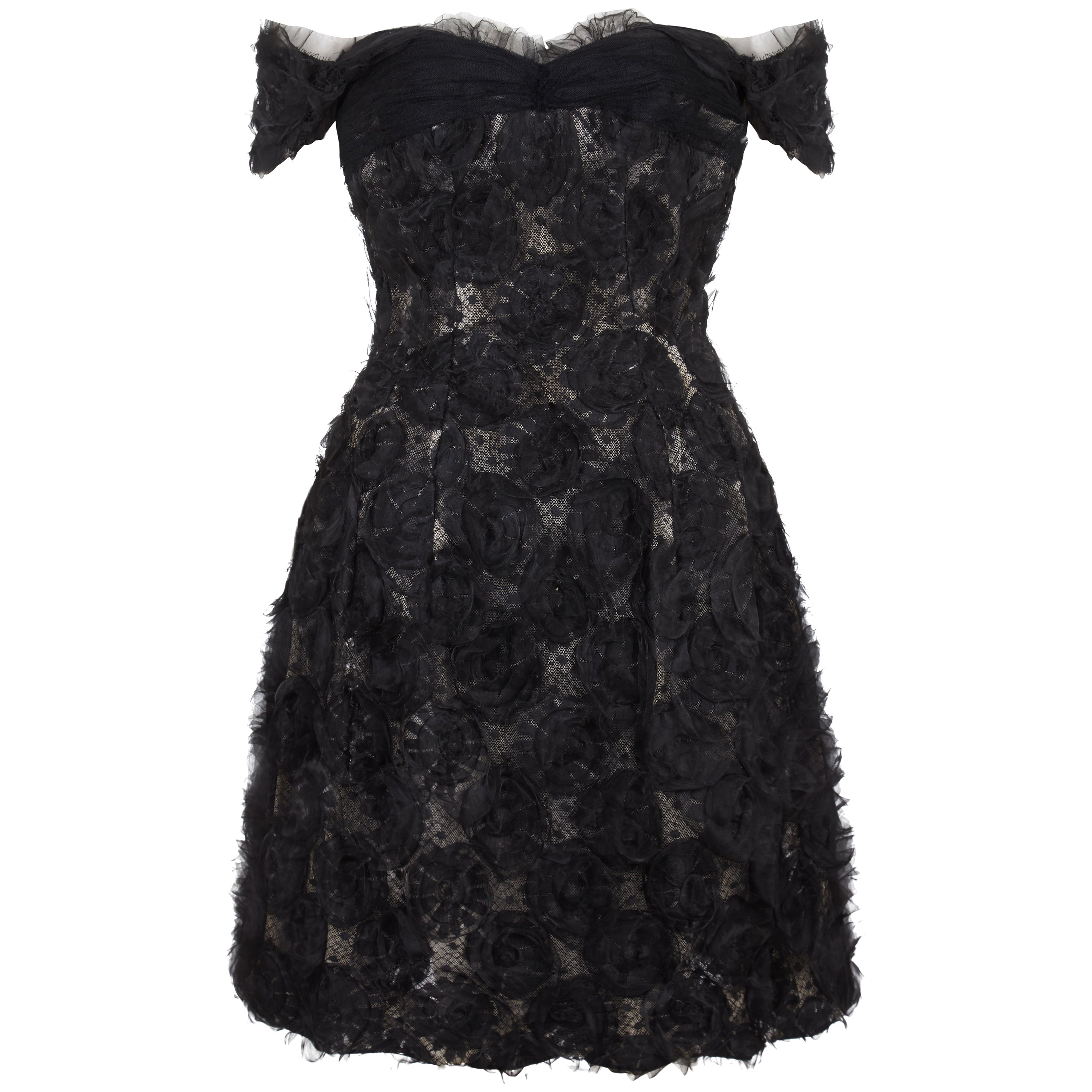 1960s Hardy Amies Couture Silk Organza Dress With Hand Made Net