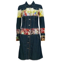 Jean Paul Gaultier Vintage Comics Print Denim Coat Dress