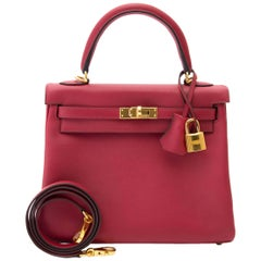 Never Used Hermes Kelly 25 Rouge Grenat Swift GHW