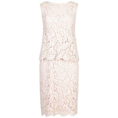 1960s Pink Lace Overlay Dress
