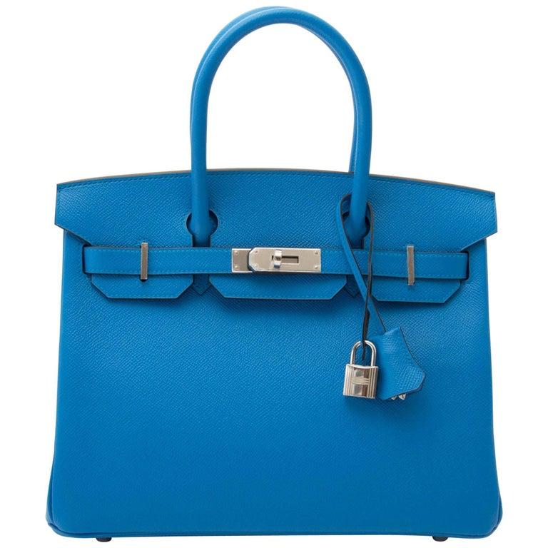 Never Used Hermes Birkin 30 Bleu Zanzibar Epson