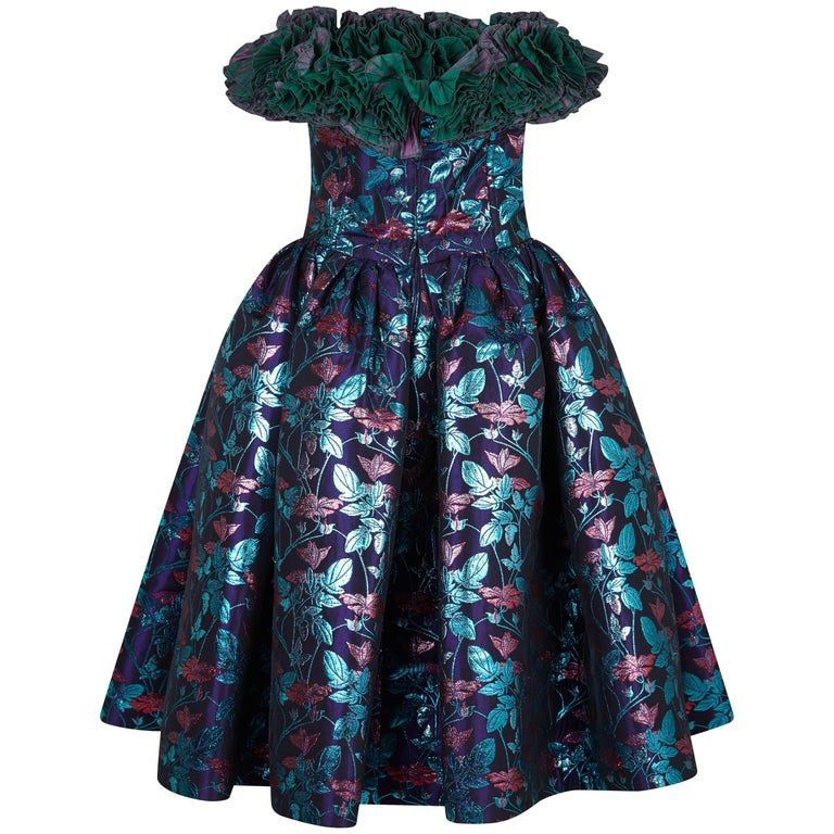 1990s Nina Ricci Haute Couture Puff Skirt Party Dress with Ruffle Neckline