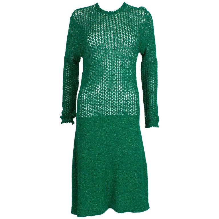 A Sparkly Green Knitted Crochet Dress