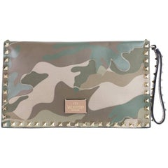 Valentino Women's Large Brown Rockstud Camouflage Flap Clutch