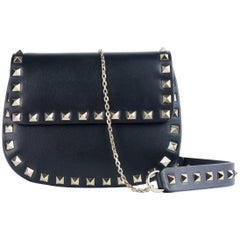 Valentino Women's Small Black Leather Rockstud Shoulder Bag