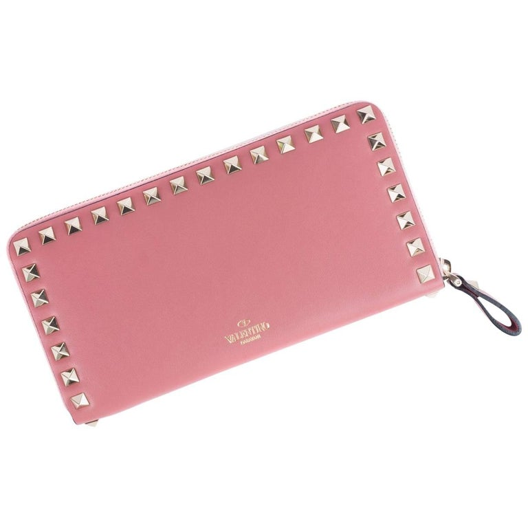 Valentino Women's Salmon Pink Leather Continental Zip Wallet 1