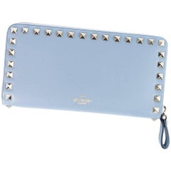 Valentino Women's Powder Blue Leather Continental Zip Wallet