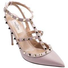 Valentino Women's Mauve Rockstud Ankle T-Strap Pumps