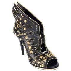 Roberto Cavalli Metallic Angel Black Leather Studded Sandal