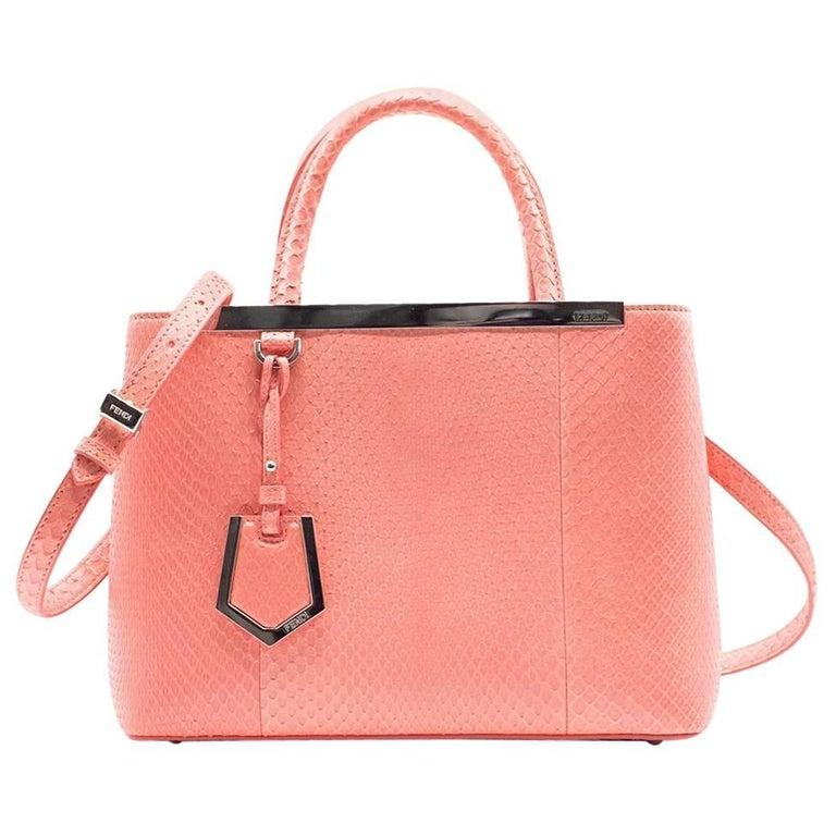 Fendi Petite 2Jours Python Top Handle Shopper Bag Pink 1
