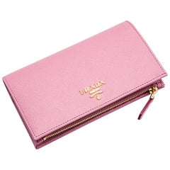 Prada Women's Soft Pink Leather Grained Texture Wallet