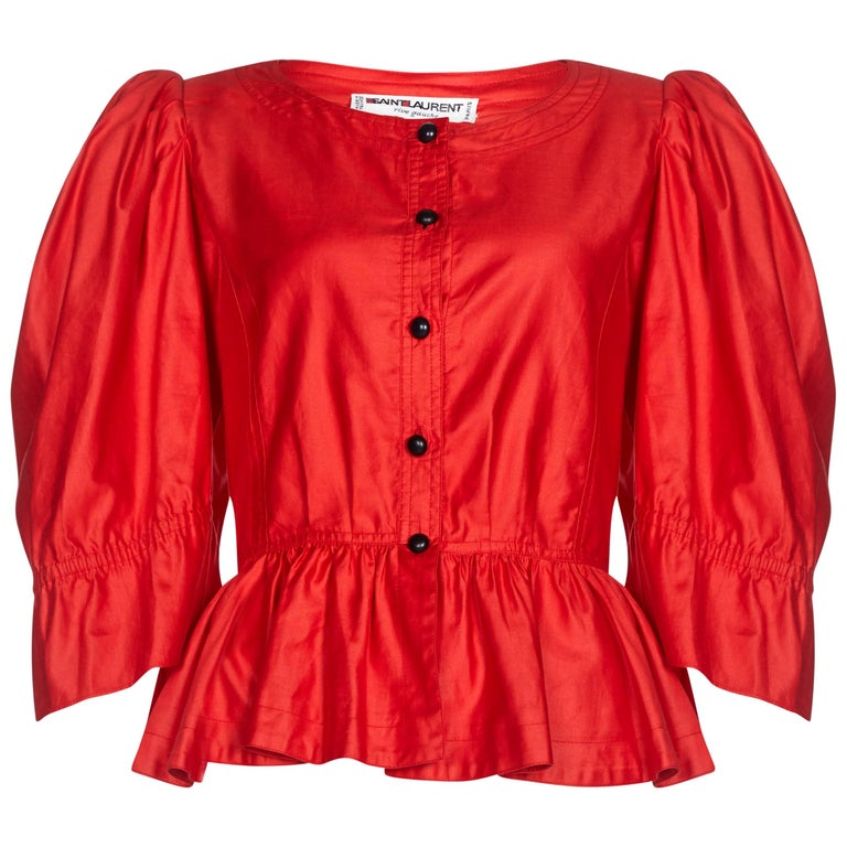 1970s Yves Saint Laurent Red Cotton Bell Sleeve Blouse With Puff Shoulder Detail
