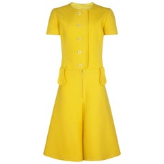 1960s French Couture Yellow Mod Playsuit With Oversized Belt Loops