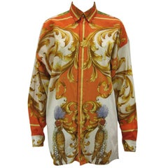 Versus Gianni Versace Baroque Printed Goddess Bird Motif Shirt