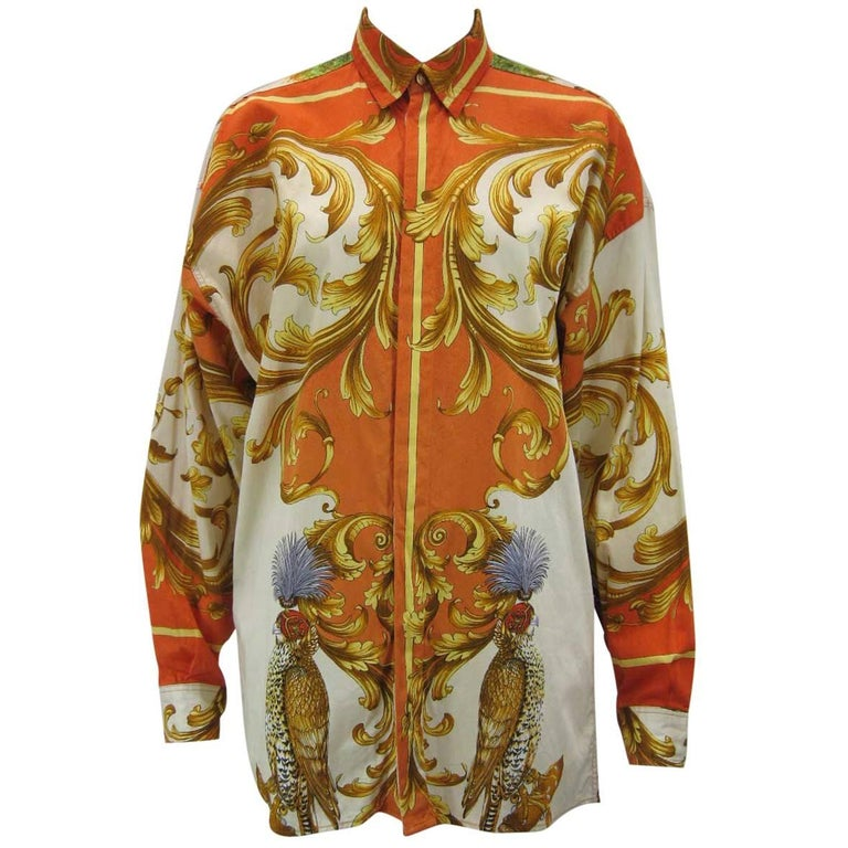 Versus Gianni Versace Baroque Printed Goddess Bird Motif Shirt