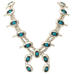 Navajo Sterling and Turquoise Naja Squash Blossom Necklace