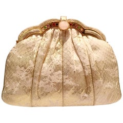 Judith Leiber Lizard and Lace Semi Precious Stone Evening Bag