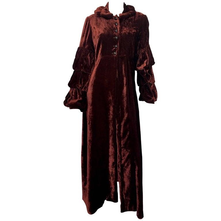 Anna Sui Rust Velvet Edwardian Style Coat