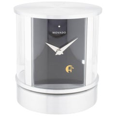 Movado Silver Steel Black Men's Rotating Picture Frame Table Desk Travel Clock