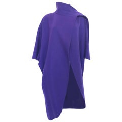 Ferragamo Purple Wool Cape Style Coat